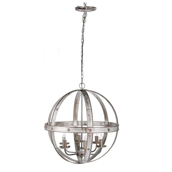 """Ordway 23.5x26"""" Iron Sphere 6-Light Chandelier"""