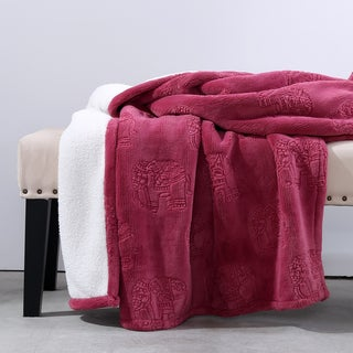 Berskhire Blanket Cute & Cozy Elephant Reversible Sherpa Throw
