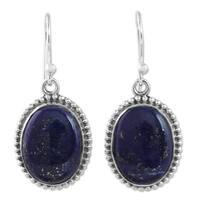 Handmade Sterling Silver 'Blue Royalty' Lapis Lazuli Earrings (India)