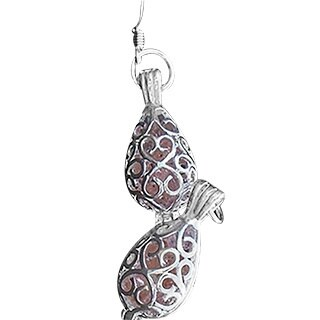 Handmade Recycled Antique Pink Depression Glass Silver Filigree Teardrop Earrings (United States)