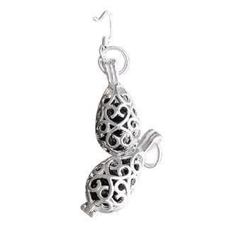 Handmade Recycled Black Depression Glass Silver Filigree Teardrop Earrings (United States)