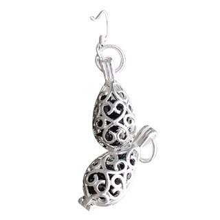 Recycled Black Depression Glass Silver Filigree Teardrop Earrings