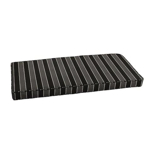 "Sunbrella Black Grey Stripe Indoor/ Outdoor Bench Cushion 37"" to 48"" by Humble + Haute"