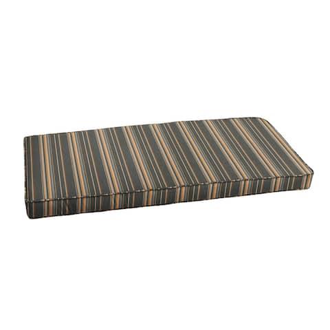 Sunbrella Grey Orange Stripe Indoor/ Outdoor Bench Cushion by Humble + Haute