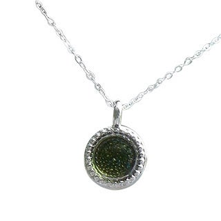 Handmade Recycled Early 1900's Olive Green Wine Bottle Glass Color Dot Necklace (United States)