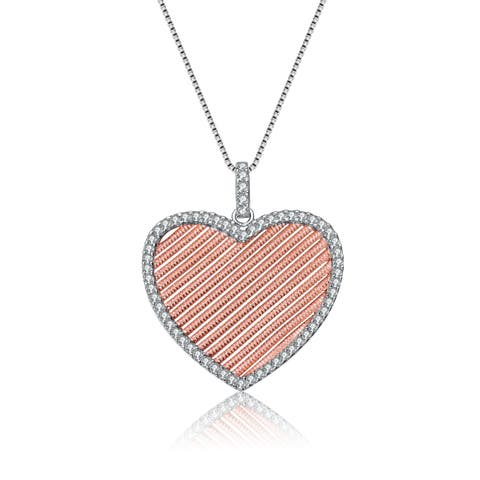 Collette Z Sterling Silver and Rose Gold Plated Heart Pendant Necklace