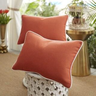 Patina Vie Midnight Tartan Sunbrella Pillow Set of 2 in Orange with Ivory Cording