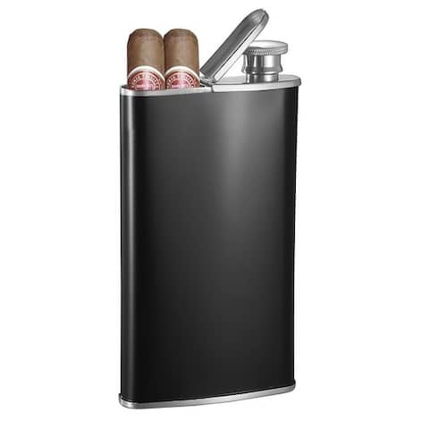 Visol Edian Black Matte 4 oz Flask with Built-in Cigar Case