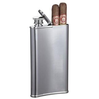 Visol Edian Stainless Steel 4 oz Flask with Built-in Cigar Holder