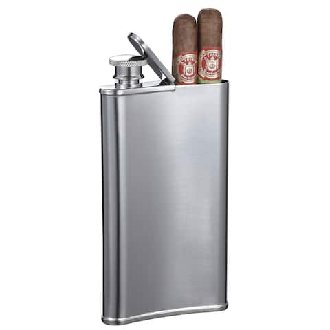 Visol Edian Stainless Steel 4 oz Flask with Built-in Cigar Holder