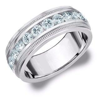 Amore 10K White Gold Men's 1.50CT Milgrain Edge Diamond Wedding Band