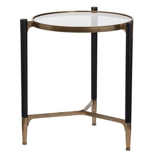 Park View Wood, Metal and Glass Round Occasional Table