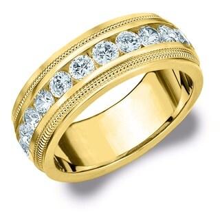 Amore 14K Yellow Gold Men's 1.50CT Milgrain Edge Diamond Wedding Band