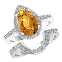 Alluring Double Band Pear-Shaped Citrine Ring Surrounded with White Topaz on the Outside Made in Solid Sterling Silver - Yellow