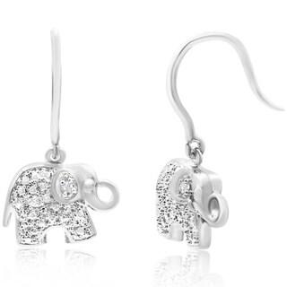 Diamond Accent Elephant Earrings, 3/4 Inch (J-K, I2-I3) - White J-K - N/A
