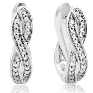 Diamond Accent Swirl Hoop Earrings, 1/2 Inch (J-K, I2-I3) - White J-K - N/A