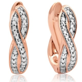 Diamond Accent Swirl Hoop Earrings In Rose Gold Tone, 1/2 Inch (J-K, I2-I3) - White J-K - N/A