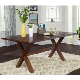 Simple Living Mandeville Live Edge Solid Wood Dining Table Walnut