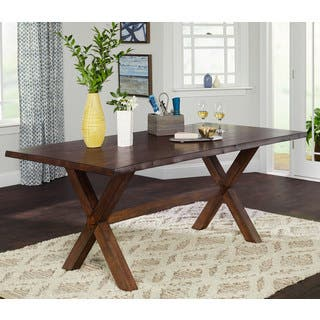 Simple Living Mandeville Live Edge Solid Wood Walnut Dining Table