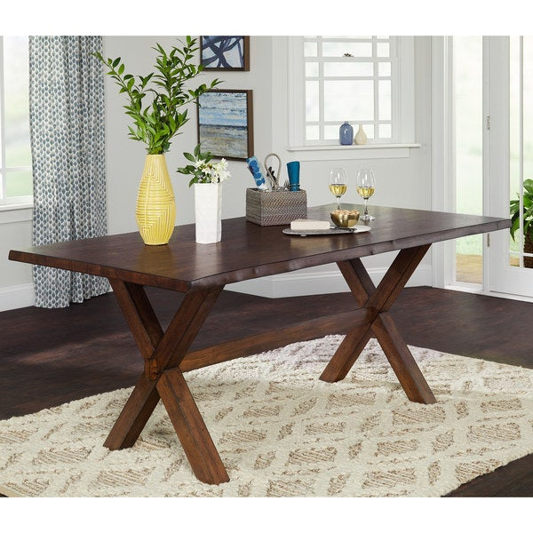 Simple Living Mandeville Solid Wood Dining Table   Walnut