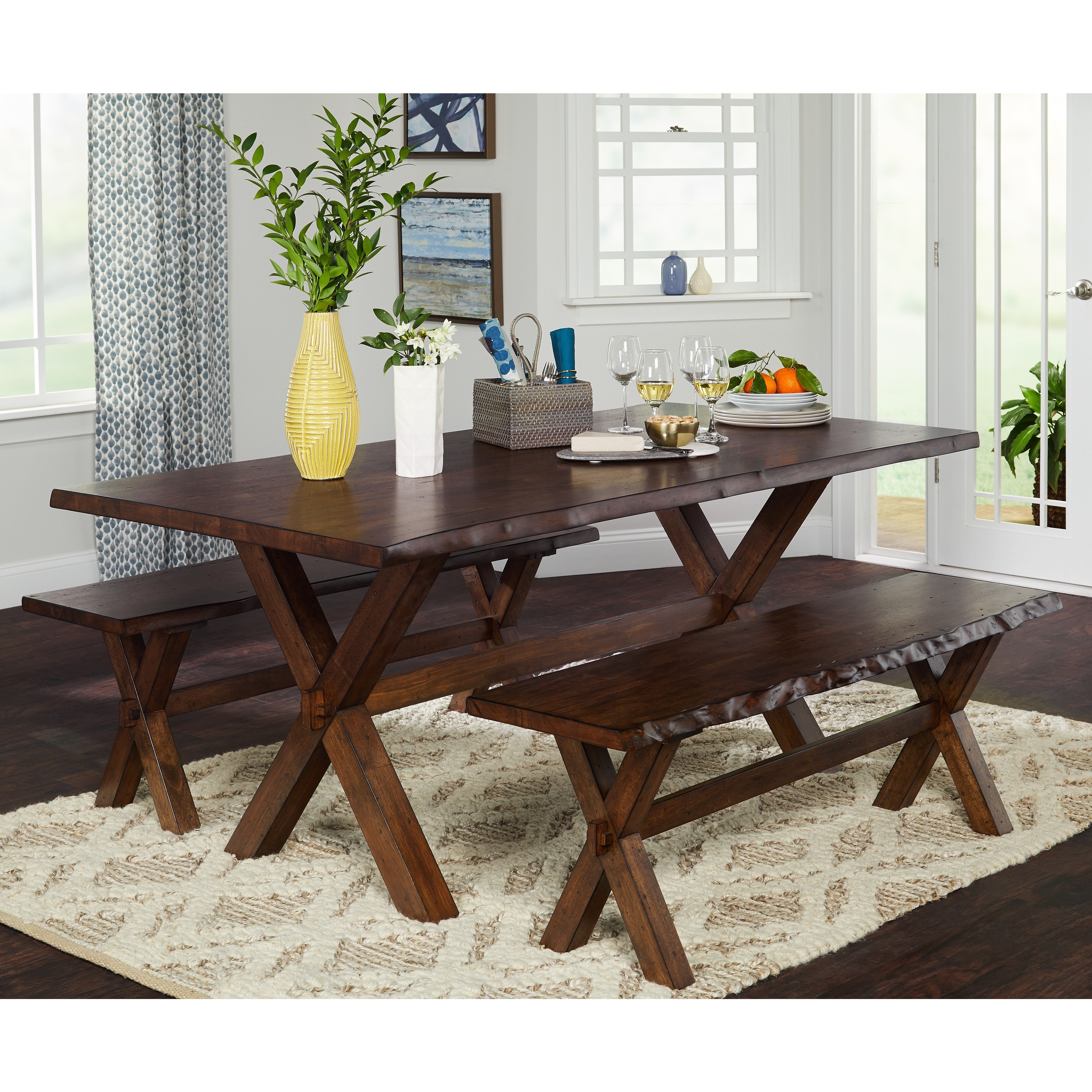 Remarkable Simple Living 3 Piece Mandeville Live Edge Solid Wood Dining And Bench Set Machost Co Dining Chair Design Ideas Machostcouk