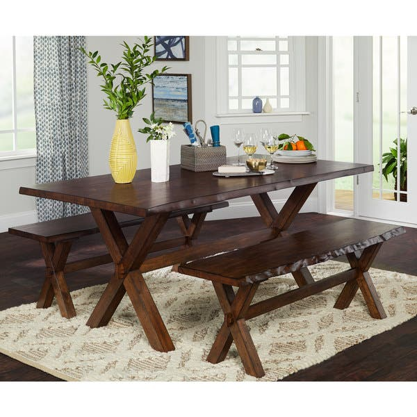 Shop Simple Living 3-Piece Mandeville Live Edge Solid Wood ...