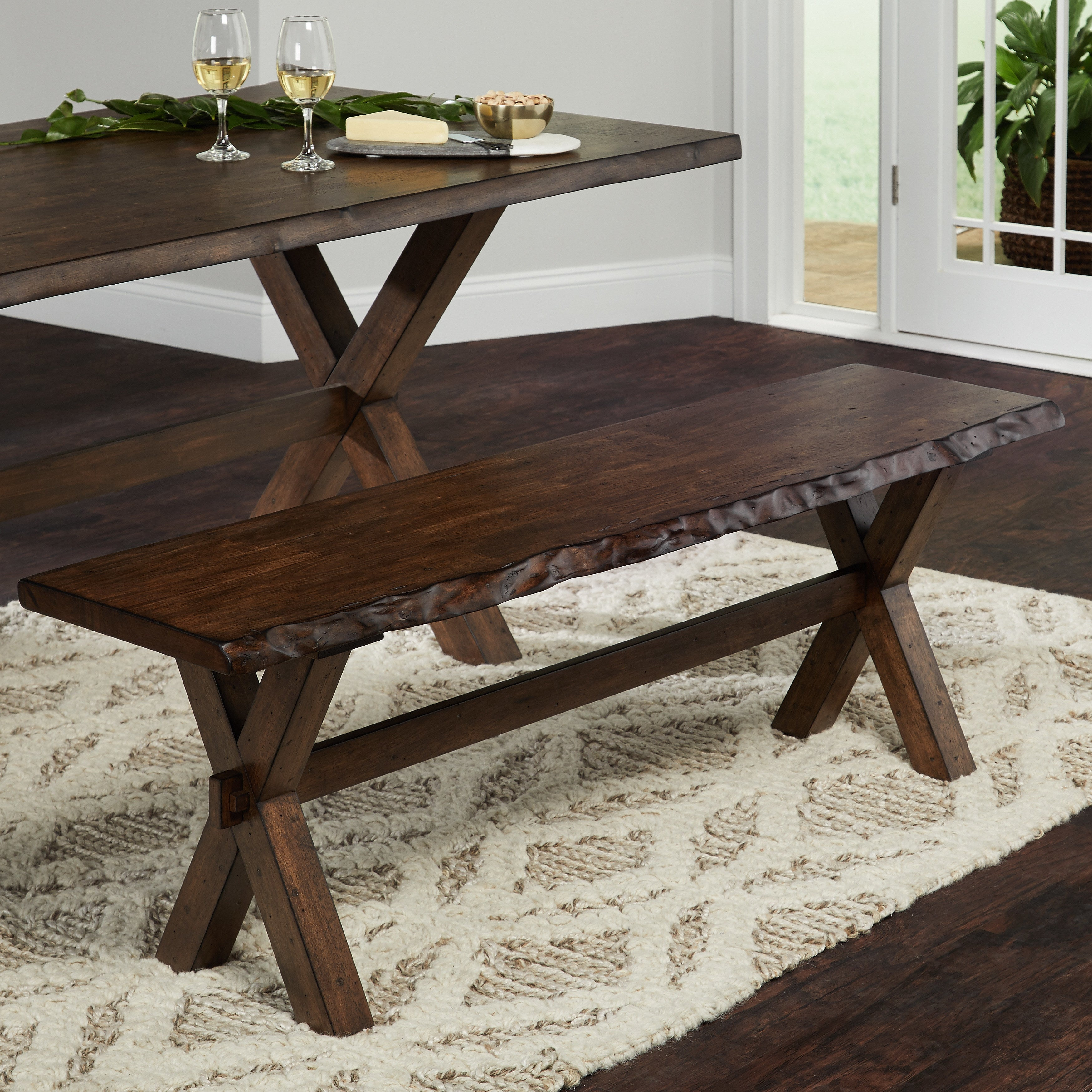 Simple Living Mandeville Live Edge Solid Wood Bench & Buy Benches Kitchen u0026 Dining Room Chairs Online at Overstock.com ...