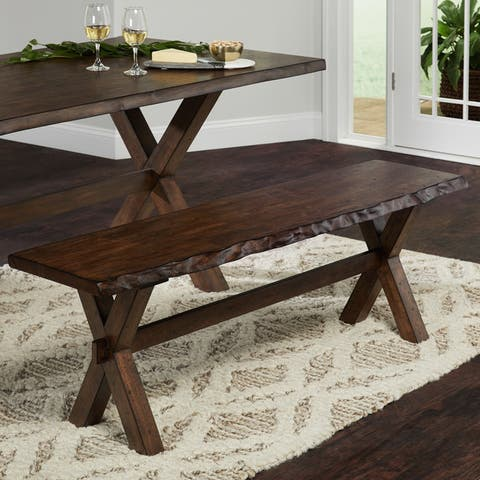 Simple Living Mandeville Live Edge Solid Wood Bench
