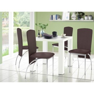 Nevada High Gloss Faux Leather 5-Piece Square Dining Set