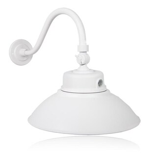 Maxxima 14 in. Outdoor Adjustable LED Gooseneck Barn Light, Photocell Sensor, 4000 Lumens