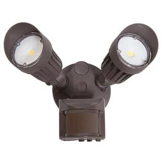 Maxxima 2 Head Outdoor LED Security Light, 1800 Lumens, Motion Sensor, Photocell Sensor, Brown
