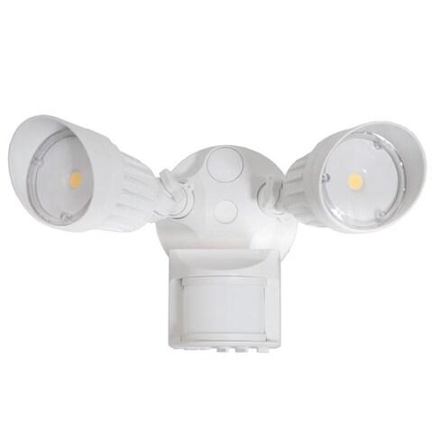 Maxxima 2 Head Outdoor LED Security Light, 1800 Lumens, Motion Sensor, Photocell Sensor, White