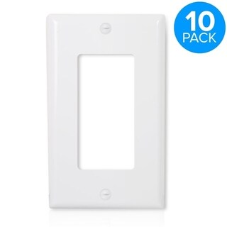 Maxxima 1 Gang Decorative Wall Plate, White (Pack of 10)