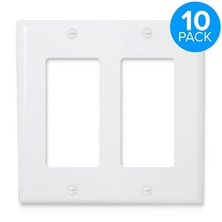 Maxxima 2 Gang Decorative Wall Plate, White (Pack of 10)