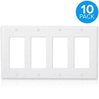 Maxxima 4 Gang Decorative Wall Plate, White (Pack of 10)