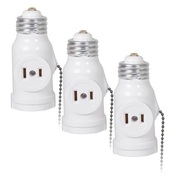 Maima Dual Outlet Light Socket Adapter With Pull Chain Pack Of 3