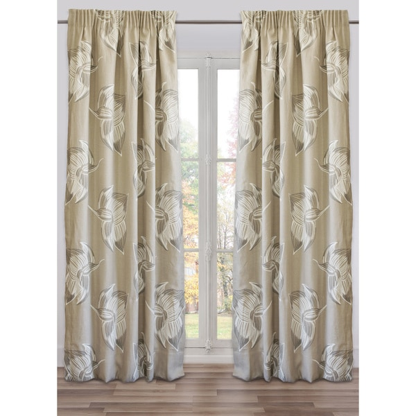 Drape Flowers Taupe, Lined, Made in USA, French Linen (48 X 118 In) - N/A