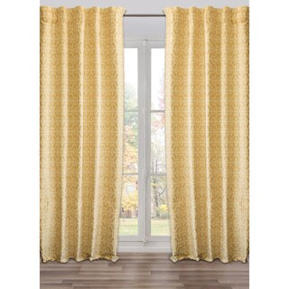 Ready-Made, Fully Adjustable Drape Panel Fret Work Yellow - 48 X 118 Inches