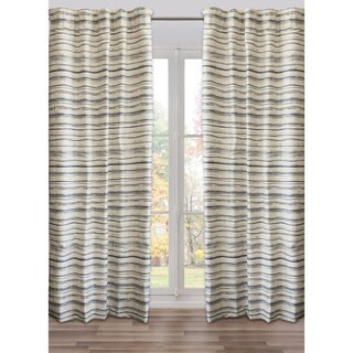 Ready-Made, Fully Adjustable Drape Panel Fresco Wall Beige/Navy - 48 X 118 Inches