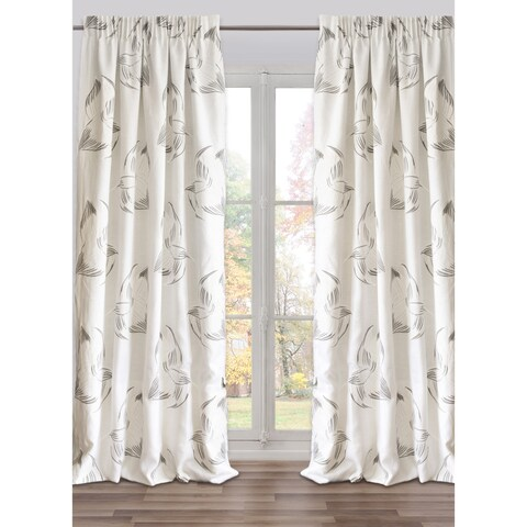 Drape Flowers White, Lined, , French Linen (48 x 118 In)