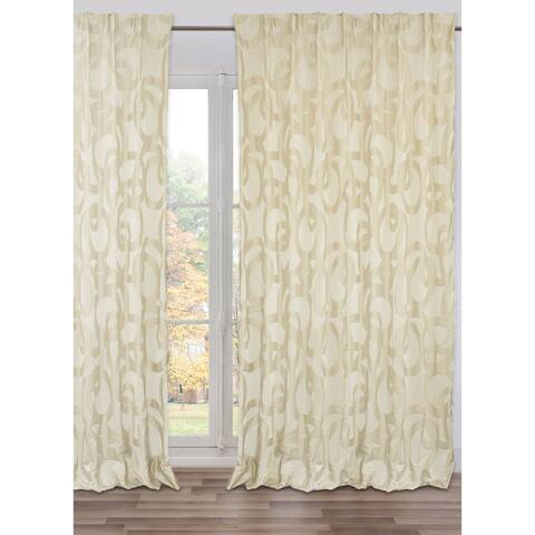 Drape Knossos Cream, Lined, Adjustable Width, Made in Italy (98 X 118)