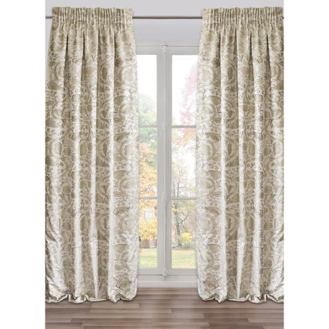 Ready-Made, Fully Adjustable Drape Panel Brighella Silver - 48 X 118 Inches