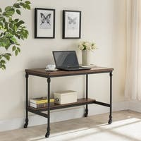 Carbon Loft Shasta Covington Brown Wood and Metal Desk with Charging Station