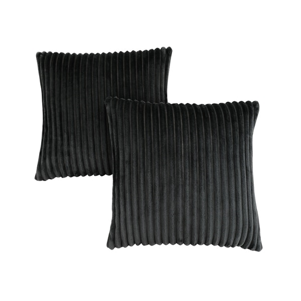 "Pillow - 18""X 18"" / Black Ultra Soft Ribbed Style / 2Pcs"