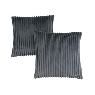 "Pillow - 18""X 18"" / Grey Ultra Soft Ribbed Style / 2Pcs"