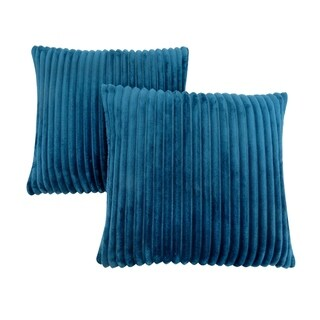 "Pillow - 18""X 18"" / Blue Ultra Soft Ribbed Style / 2Pcs"