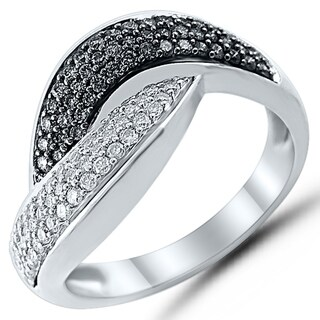 Caressa Sterling Silver 1/2CT. T.W. Black & White Diamond Twist Ring