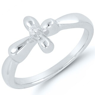 Caressa Sterling Silver Diamond Accent Sideways Cross Ring - White H-I