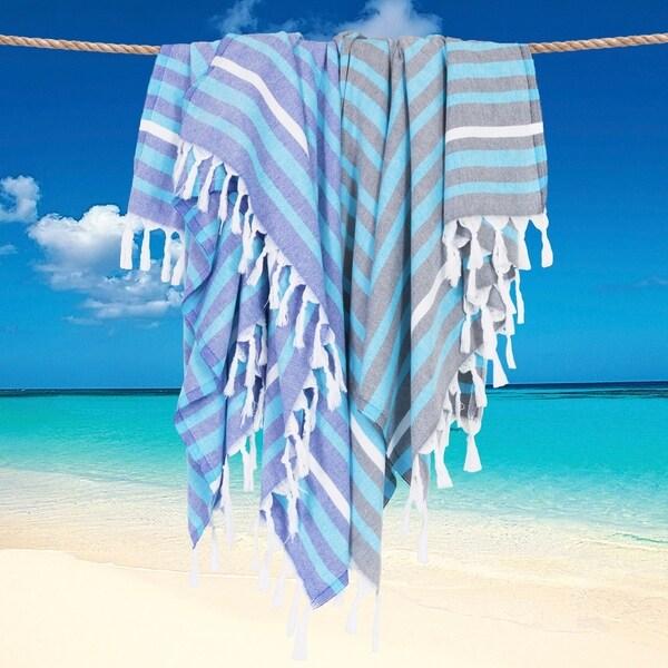 Authentic Pestemal Fouta Ali Elegant Striped Turkish Cotton Bath/ Beach Towel