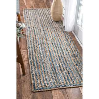 nuLOOM Handmade Braided Natural Fiber Jute and Denim Runner Rug (2'6'' x 10')